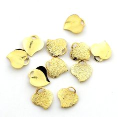 10pcs 10mm Gold Plated Stardust Heart by FancyGemsandFindings, $5.50