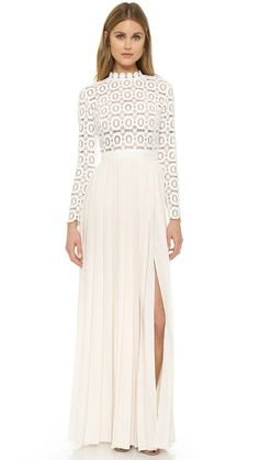 Pleated Crochet Maxi Dress