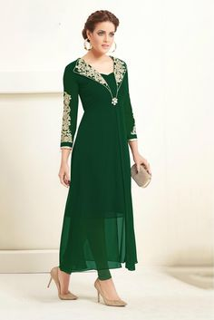 Buy Green Long Georgette Kurti - Latest Kurti's Online Shopping At Peachmode Party Wear Kurtis, Party Wear Dresses, Maxi Dresses, Party Dress, Indian Gowns Dresses, Pakistani Dresses, Indo Western Kurti, Wiccan Clothing, Stylish Kurtis