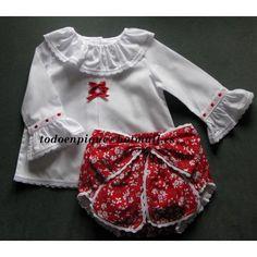 Conjunto Lizza blusa lacitos y cubrepañal