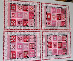 Valentine Quilted Placemats Retro Vintage by ForgetMeNotQuilteds