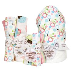 Trend Lab 10 Pc. Burp Cloths and Hooded Towel and Wash Cloths Set - Cupcake