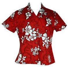 White Hibiscus Ladies Hawaiian Shirts Red - I had a shirt kinda like this that I wore with jeans.