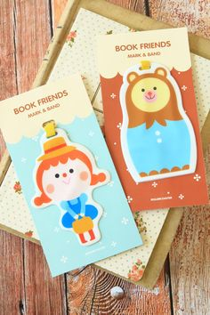kawaii Rollercoaster Book Friends cartoon doll bookmarks notebook elastic holder, £4.00