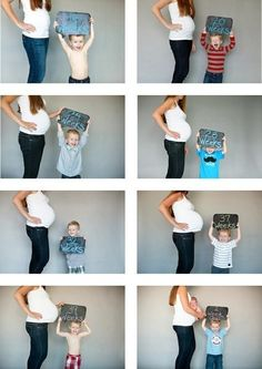 for every month have your first child hold a sign up next to your belly:) super cute