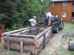 Split logs for raised beds.