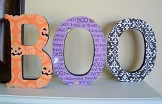wood letters, modge podge and scrapbook paper