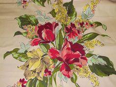 30's Splashy Tulips Vintage Barkcloth Era Fabric Panels $50.00