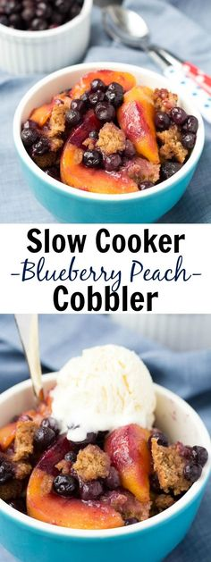 A healthier Slow Cooker Blueberry Peach Cobbler recipe, with a touch of brown sugar. This easy dessert is made entirely in your crock pot!