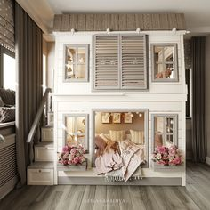 Girls Bedroom Canopy, Diy Bedroom Decor, Kids Bedroom, Condo Interior, Interior Exterior, Bunk Beds With Storage, Baby Room Furniture, Small Bedroom Designs, Cool Beds
