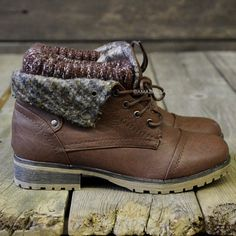 Mountain Trek Brown Cuffed Ankle Boots