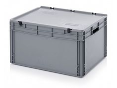 172 Litre Lidded European Standard Plastic Container - Stackable Straight Sided Storage Box