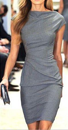 Grey Plain Short Sleeve Fashion Mini Dress