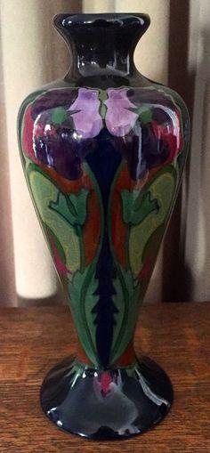 """Vintage Gouda 9"""" Vase- Z-Holland - Glossy Dark Green, Purple, Orange & Cobalt"""