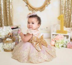 Pink and gold dress girls princess dress pageant dress Baby Princess Dress, Baby Girl Birthday Dress, 1st Birthday Dresses, Baby Girl Dresses, Baby Dress, Pink Princess, Pink And Gold Dress, Pink Und Gold, Bebe 1 An