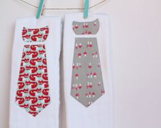 fd99249b1e Baby Burp Cloths with Necktie in Red Foxes and Mushrooms