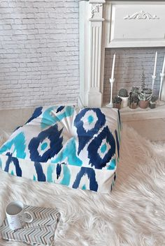 Natalie Baca Malibu Blue Ikat Floor Pillow Square | DENY Designs Home Accessories