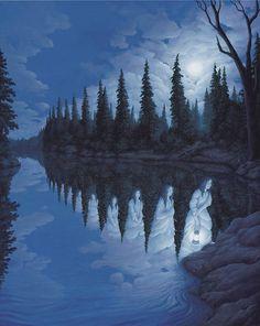 """L'artista canadese Robert Gonsalves crea dei dipinti davvero unici e """"impossibili"""" che ingannano la percezione dello spettatore. Ogni opera racchiude vari livelli, e chi guarda è costretto continuamente a cambiare percezione, rimanendo senza una spiegazione. Provare per credere! Altre info: Facebook"""