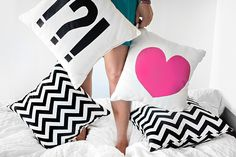 DIY heart & punctuation pillows using heat transfer material