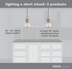 "HOW TO HANG PENDANT LIGHTS OVER AN ISLAND | http://einteriors.design/hang-pendant-lights/ | ""pendant lights over an island should hang 28-34 inches above the countertop of the island...general rule of thumb, measure the width of the island and subtract by 12 to determine the maximum width your lighting should be...if you have a smaller island that is in the 4-5 foot range you need two small or two medium pendants. If you have a larger island, you will need three medium or three large…"