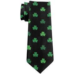 St Patricks Day Shamrock Black All Over Neck Tie
