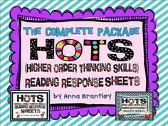 This download includes both of my HOTS (Higher Order Thinking) reading response sheet packets! The 50 reading response sheets encourage creating, evaluating, and analyzing text. They can be used in a variety ways- guided reading activities, a literacy center {I call mine the HOTS center}, or homework! I designed them to be used over and over with different books!