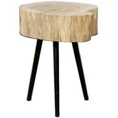 Colby Natural Minimalist Solid Angsana Wood Tree Trunk End Table - Harrington Galleries