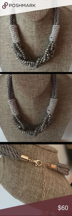 "shades of grey crystals on  silk cord wrap 18"" with 3"" chain extender NWOT private label Jewelry Necklaces"