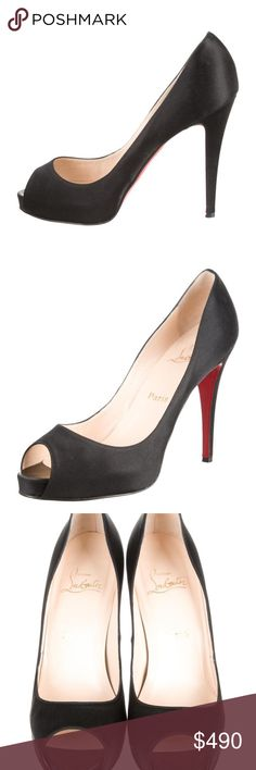 """CHRISTIAN LOUBOUTIN C.L SHOES, ABSOLUTELY GORGEOUS, CLASSIC, STYLISH SHOES, SMART INVESTMENT, GREAT FOR GIFT, SIZE MARKED 39.5, HEEL 4.75"""", MODERATE WEAR AT SOLES AND AT INSOLES, BLACK SATIN, WORN ONLY TWICE, SOFT COMPTABLE, CLEAN SHOES, C.L DUST BAG INCLUDED, SAME DAY SHIPPING Christian Louboutin Shoes Heels"""