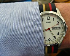 JPress - Hairline stripe OCBD, watchband from O'Connell's, Buffalo.