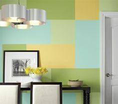 Wand Muster streichen Rechteck drei Farben.. auch schön als Bordüre mit Dreiecken