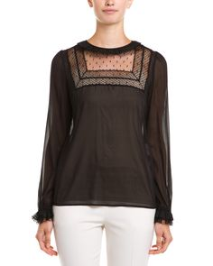 RED Valentino Black Silk-Blend Top is on Rue. Shop it now.