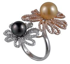18k White and Rose Gold; Tahitian Pearl and Golden South Sea Pearl and Diamond Ring