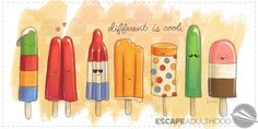 Different is cool by Jason Kotecki #diversity #variety #popsicles #summertime