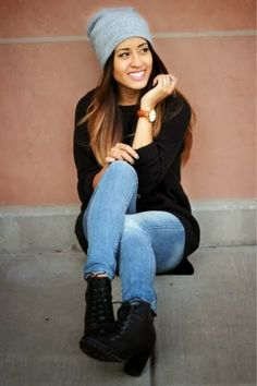 Grey hat, black long sweater, black boots and jeans combination for fall Fun and Fashion Blog