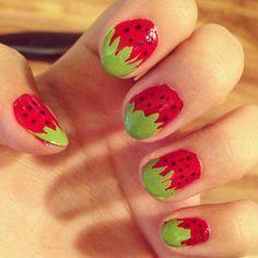 Strawberry Fingernails *.*  #dyo #fingernails