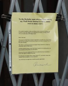 Of Course a Berkeley Man Leaves Charming Note to Guy Stealing His Paper - The Bold Italic - San Francisco
