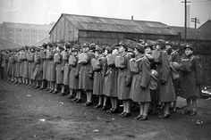 Unidentified Canadian Women's Army Corps Unit in formation shortly after arriving in England, 1944-45.