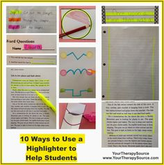 Your Therapy Source - www.YourTherapySource.com: 10 Ways to Use a Highlighter to Help Students