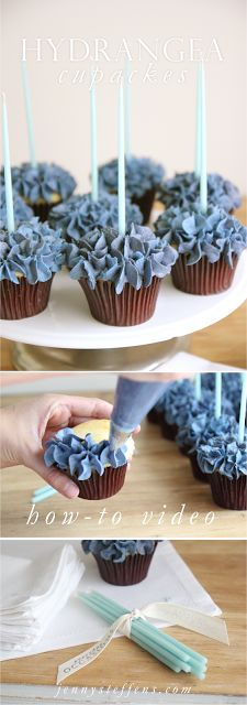 Hydrangea Cupcakes with How-To Video. plus buy supplies on site : brown cupcake papers, piping bag, star tip & candles See Jenni Steffins' buttercream recipe. Paper Cupcake, Cupcake Cookies, Cupcake Papers, Hydrangea Cupcakes, Blue Cupcakes, Blue Hydrangea, Hydrangeas, Cake Decorating Tips, Cookie Decorating