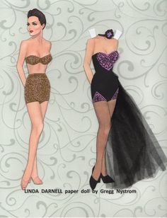 Linda Darnell paper doll by Gregg Nystrom / Facebook