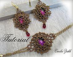 Frivolite lace jewelry.PDF Tatting Pattern Lina set earrings and bracelet  frivolite pattern tatting instruction tatting with beads earrings
