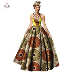 Womens African Dress Dashikis Print Ball Gown Party Dress, Maxi and Strapless Women gown with Free Headwear Plus Size-0WM1805