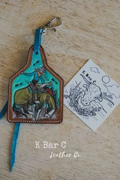 Buckskin Bronco Ear Tag Purse Charm Leather Carving, Leather Art, Tooled Leather, Custom Leather, Leather Tooling, Leather Jewelry, Leather Purses, Leather Scraps, Ear Tag