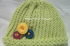 Newborn Hat With Buttons by mimimariedesigns on Etsy, $16.00