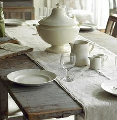 For spring table, do this and have hyacinth blooming in the tureen for a centerpiece