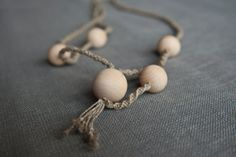 Ecofriendly linen and wood necklace Cosmos by LigaTreija on Etsy, $16.00