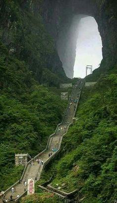 At the majestic Tianmen Mountain in China.