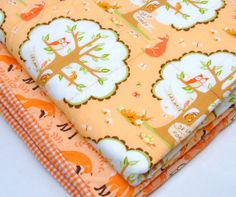 """baby quilt with woodland animals- foxes, owls, deer, squirrels in coral, brown, green """"My forest friends"""" ready to ship"""