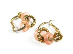 Vintage Frosted Peach Hoop Earrings in Brass Tone  by MyChouchou, $7.25